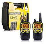 Midland C1180.01 XT70 Adventure - Radio Dual Band Ricetrasmittente Professionale Walkie Talkie Ricarica Rapida - Giallo - Raggio 12 km - Set di 2 Ricetrasmettitori con Box Full Optional