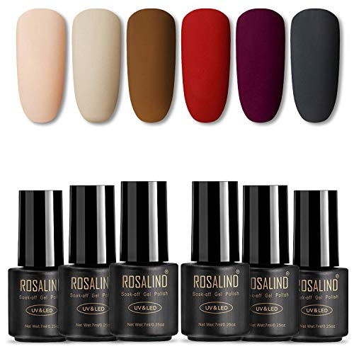 ROSALIND Vernis Gel Semi Permanent Mat,A Lot de 6 Vernis à Ongles Gel Automne-Hiver Soak Off UV LED 7ML