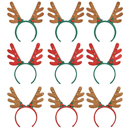 Reindeer Antlers Headband, Fascigirl 9 PCS Xmas Headbands for Girls Adult Halloween Christmas Party Supplies Holiday Decorations Hair Accessories Birthday Gifts