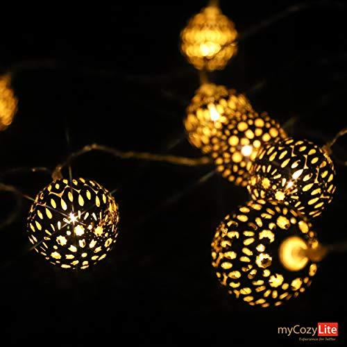 LED Globe Lichterketten, Goldene Marokkanische Kugel, Zarte Lichtmuster, Warmweiß, Batteriebetriebene, 20er, 3 Meter, für Innen und Außen