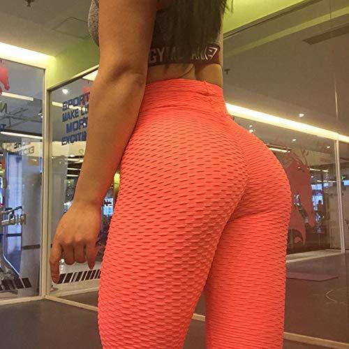 B/H Super Doux Pantalon de Yoga Pantalon Extensible,Vêtements de Sport Taille Haute, Legging Respirant Absorbant la Transpiration pour Femmes-Orange_L