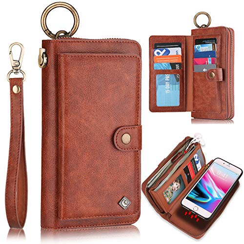 XRPow Wallet Case iPhone 8 Plus/iPhone 7 Plus 5.5' [2 in 1] Magnetic Detachable Wallet Case [Vegan Leather] Zipper Clutch Folio Flip Card Solt [Wrist Strap] Purse Protection Back Cover - Brown