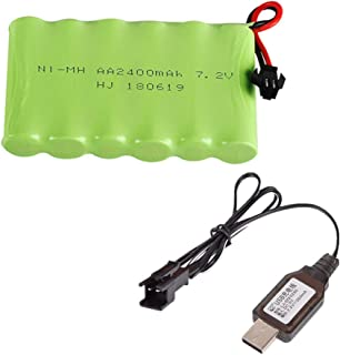 Rechargeable Ni-Mh Battery AA X 6 2400mAh 7.2V SM-2P Plug for RC Toy Household Electric Appliances Lighting Equipment with Charging USB Cable