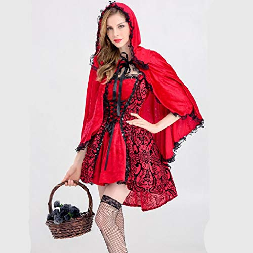 TcooLPE Frauen Rotkäppchen Kostüm Halloween Weihnachtsfeier Rolle Spielen Erwachsene Cosplay Kleid Kostüm for Frauen Rotkäppchen Cosplay Halloween Karneval (Size : M)