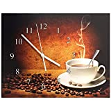 BANBERRY DESIGNS Coffee Wall Clock - Steaming Hot Coffee with Coffee Beans - Canvas Clock Print - Coffee Decorations