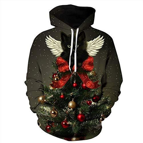 CHIYEEE Unisex hoodie Christmas 3D druk capuchonpullover heren dames lange mouwen sweatshirt paar trui top jumper