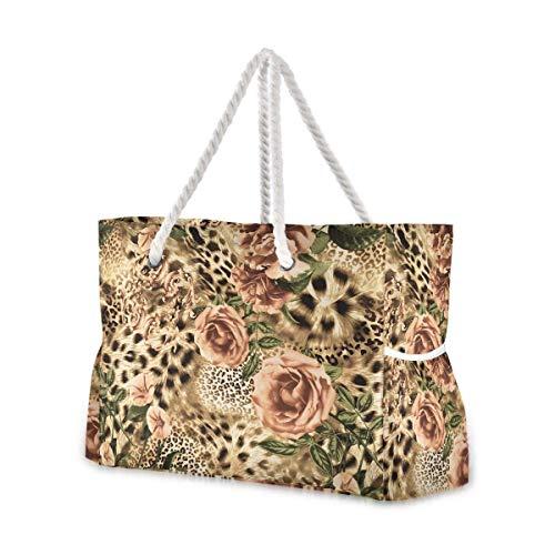 Große Strandtaschen Totes Canvas Tote Schultertasche Textur des Druckstoffes gestreift Leopard und Blume wasserabweisend Taschen für Fitnessstudio Reisen Alltag
