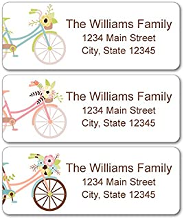 Personalized Return Address Labels - Bicycle and Flowers Design - 120 Custom Self-Adhesive Stickers