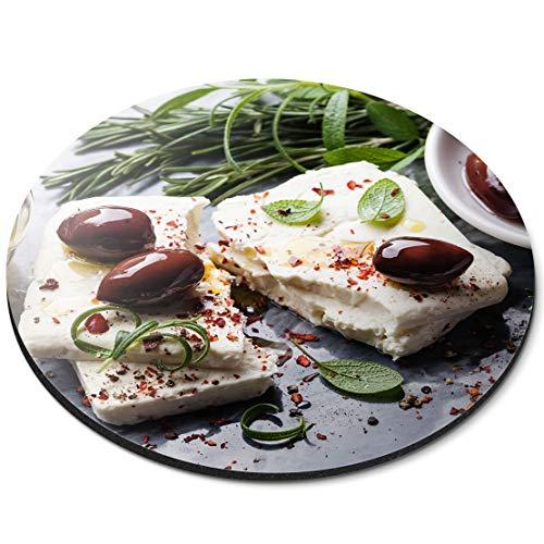 Tappetino rotondo per mouse – Feta formaggio con olive greco cibo ufficio – RM21527