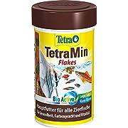 TetraMin (Hauptfutter für alle Zierfische in Flockenform, für ein langes und gesundes Fischleben und klares Wasser, plus Präbiotika für verbesserte Körperfunktionen und Futterverwertung), 100 ml Dose