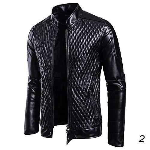 X&Armanis Stehkragen Lederjacke, warme Herrenjacke mit Reißverschluss Spring Punk Lederjacke,2,L