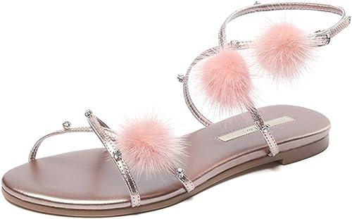Sandales ZHIRONG Les femmes d'été doux plates à la cheville sangles de style romain pantoufles bohème plage chaussures (Couleur   Or, taille   EU36 UK4 CN36)