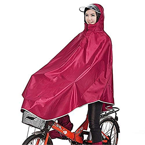 sorliva Regenponcho für Camping Fahrrad Regenmantel Regenschutz mit Kapuze, Poncho, Rot
