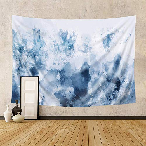 Riyidecor Abstract Blue Watercolor Tapestry 60Hx80W Inch Ombre Painting Marble Modern Art Neutral Cozy Cold Fantastic Wall Hanging Bedroom Living Room Dorm Decor Fabric