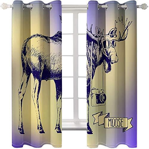 AmDxD 2 paneles de tela de poliéster, cortinas de alce opaco con gafas y cortina de cámara, lavable a máquina, color caqui, 201,4 cm de ancho x 101,9 cm de largo