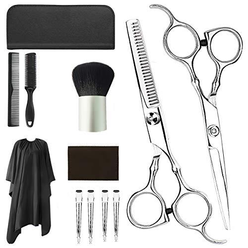 12-teiliges Friseurscheren-Set, professionelles Friseurscheren-Set, Effilierschere, Schere, Kamm, Umhang, Clips für Friseurzuhause, silberfarben