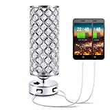 USB Crystal Table Lamp,Kakanuo Nightstand Decorative Lamp with Dual Fast USB Charging Ports, Modern Glam Table Lamp for Bedroom, Living Room, Study Room, Office