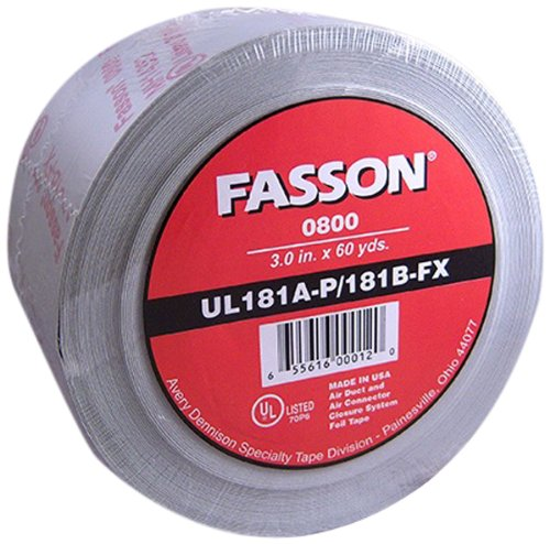 Avery Dennison Fasson 0800 Aluminum Foil HVAC Duct Tape, UL 181A-P/181B-Fx, Silver, 180 ft x 2.5 in