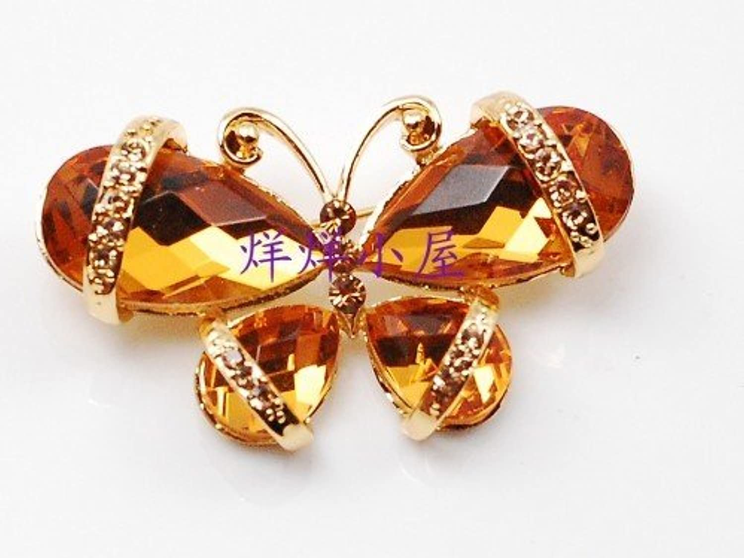 Wei Ni Hua Genuine Diamond Crystal Butterfly Brooch pin Badge Inlaid gold-Plated Gift Corsage pin