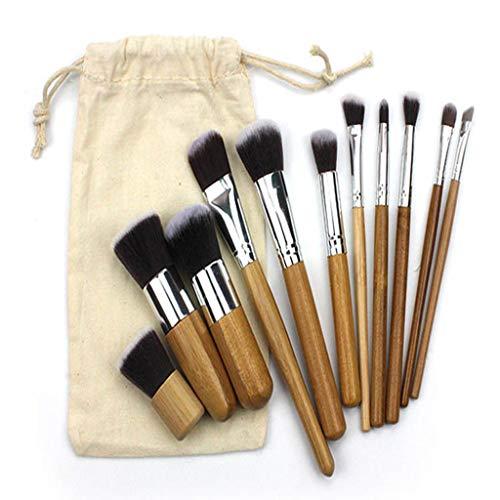 lot pinceaux maquillage,Feifish 11 pièces avec poignée en bambou synthétique premium. Pour les fonds de teint, pinceaux à fard à joues, kabuki, à poudre, à crèmes cosmétiques et correcteur pour œil