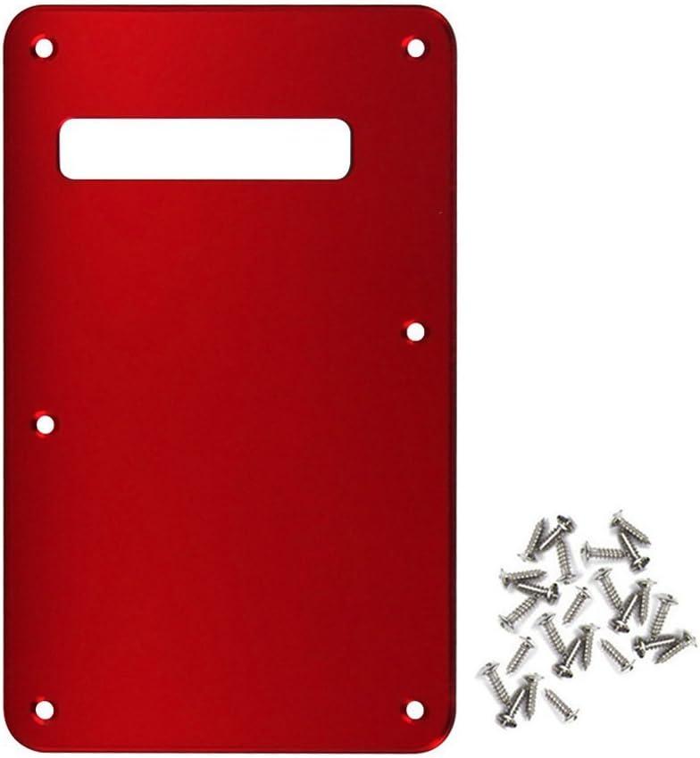 IKN 6 hoyos Tremolo Cavity Cover Placa posterior antiarañazos con tornillos de montaje para Fender Reemplazo de guitarra estilo Stratocaster moderno, espejo rojo de 1 capa