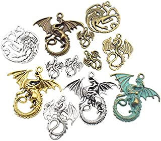 Craft Supplies Mixed Pendants Beads Charms Pendants for Crafting, Jewelry Findings Making Accessory for DIY Necklace Bracelet (Dragon Charms)