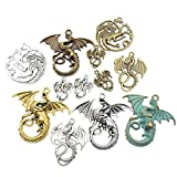 100g (20pcs) Craft Supplies Mixed Flying Dragon Charms Pendants Beads Charms Pendants for Crafting, Jewelry Findings Making Accessory for DIY Necklace Bracelet (M015)