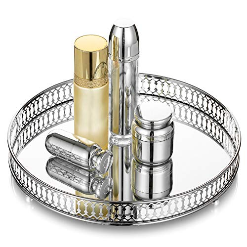 Nuptio Kosmetisches Make-Up Parfüm Tablett, Verspiegeltes Eitelkeitsschmuck Dekoratives Tablett, Verzierter Organizer Tablett für Kommode, Silberner Kerzenhalter Hauptdekor Tablett für Hochzeitsfeier