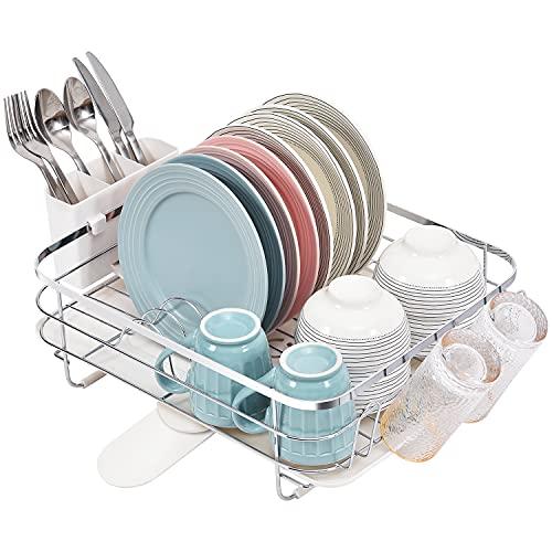 Kingrack Abtropfgestell Geschirr Edelstahl, Geschirrabtropfgestell mit Abtropfschale 360° Drehbarer Auslauf, Groß Geschirrabtropfkorb mit Becherhalter & Besteckhalter, Geschirrtrockner für Küche, Weiß