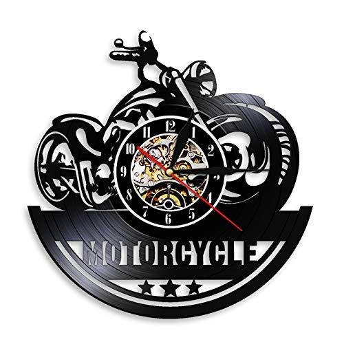 KEC Reloj de Pared con Disco de Vinilo con CD para Motocicleta, Reloj de Pared con LED Brillante de diseño Moderno, Relojes de Pared con luz Nocturna para Motocicleta, Reloj de Pared