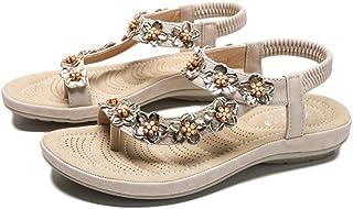 Women's Comfortable Wedge Sandals Bohemian Beaded Strap Sandals Rhinestone Leather Sandals Comfort Orthopedic Open Toe Sandals,Apricot,35