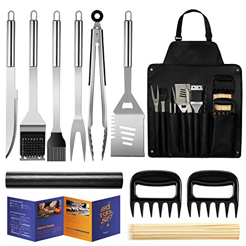 Veken BBQ Grill Accessories, Stainless Steel BBQ Tools Set for Men & Women Grilling Utensils Accessories with Storage Apron Gift Kit for Barbecue Indoor/Outdoor (100 PCS Skewers)