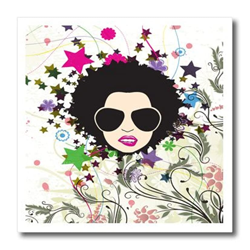 3dRose ht_119075_2 Urban Grunge Pop Art Floral Bliss Attitude Diva Girl with Afro and Shades Modern Vector Art Iron on Heat Transfer, 6 by 6