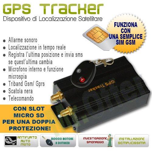 Localizzatore GPS, dispositivo di localizzazione satellitare, Tracker cablato con telecomando, antifurto satellitari per auto, moto, camper e barche con funzione blocco motore in caso di furto
