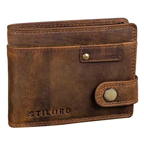 STILORD 'Finley' Cartera de Cuero para Hombres Protección RFID y NFC con Botón Pulsador Billetera con protección, Color:marrón - Medio