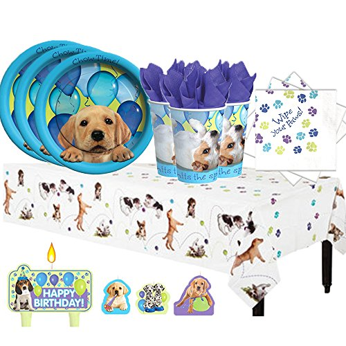 Puppy Dog Birthday Party Pack for 16 with Plates, Napkins, Cups, Tablecover, and Candles!