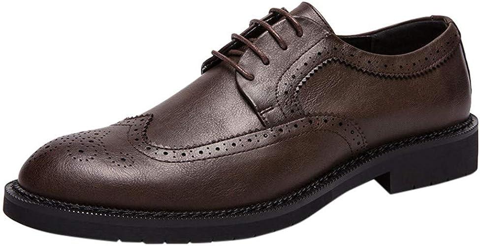 Vectry Mode Chaussures à Lacets pour Homme Non-Slip Décontracté Chaussures Simples Chaussures en Cuir Chaussures Randonnée en Plein Air Trekking Décontracté paniers
