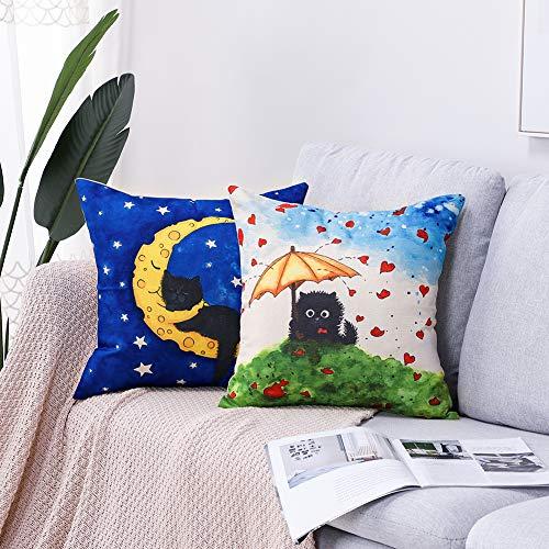 Artscope - Juego de 2 fundas de almohada decorativas de 45 x 45 cm, de algodón y lino, para sofá, coche, dormitorio, decoración de casa (gato perezo)