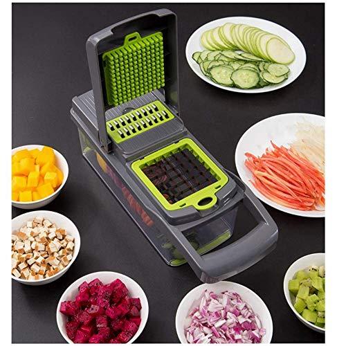 Vegetal Chopper máquina de cortar de Dicer, Nueva Actualiza multifunción cortador de verduras manual mandolina máquina de cortar de ajo, repollo, zanahoria, patata, tomate, fruta, ensalada (gris) ZHHI