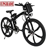 Aceshin 26 inch Electric Bike Folding Electric Mountain Bike with Removable 36V 8AH Lithium-Ion Battery 250W Motor 21 Speed Gear (Black)