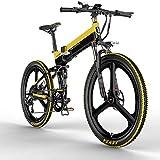 Vélo Électrique 26 Pouces City E-Bike Pliant 400W avec Batterie au Lithium 48V 10,4Ah Vitesse jusqu'à 30 km/h, Vélo de Montagne Autonomie 100km, VTT pour Adultes (EU Stock) (Jaune)