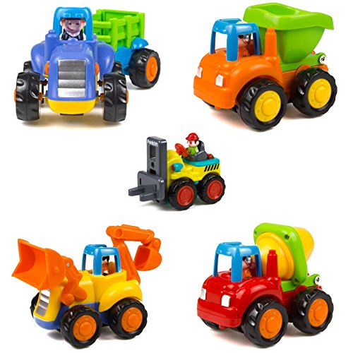 Woby Push and Go Friction Powered Car Toys Set Tractor Bulldozer Mixer Truck and...