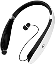 Bluetooth Headphones, Foldable Bluetooth Headset with Retractable Earbuds, Noise Cancelling Stereo Neckband Wireless Headset 16 Hours Playtime, V4.1, Built-in Mic