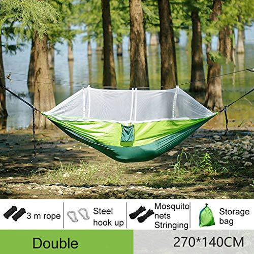 Waart ultralichte draagbare parachute-hangmat campinghangmat met muggennet, schommel-slaapmatbed voor outdoor-indoor-tuinwandelen