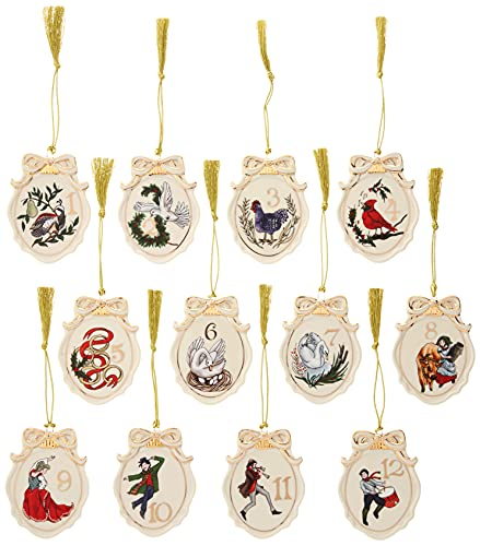 Lenox Twelve Days of Christmas 12-Piece Ornament Set, 1.65 LB, Multi