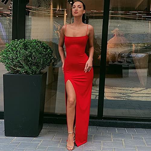 Vestido De La Correa De Las Mujeres Split Slim Lady Toble Longitud Retro Vestido 1033 (Color : Red, Size : Small)