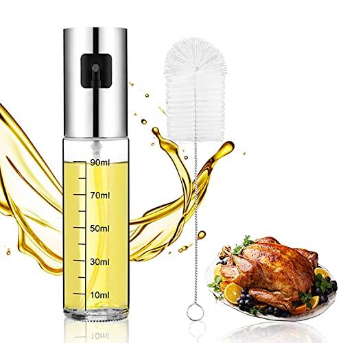 Oil Sprayer for Cooking,100ML Olive Oil Sprayer Mister,Olive Oil Spray Bottle with Brush for Baking,Roasting,BBQ,Making Salad.