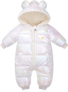 طفل الفتيات الفتيان زائد المخملية لامعة الشتاء السروال القصير طفل مقنعين ماء snowsuit umpsuits (Color : White, Size : 12M)