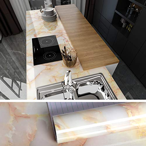 VEELIKE Marble Contact Paper Wallpaper Peel and Stick 15.74×354.33inches Waterproof Removable Self-Adhesive Wall Covering for Countertop Cabinet Table