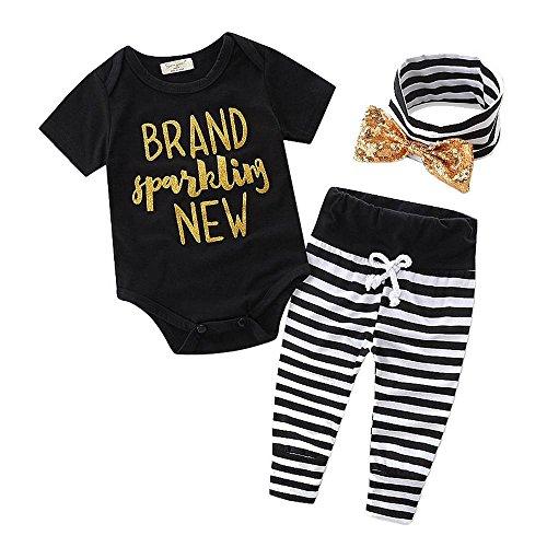 SAMGU Nouveau-né Bébé Garçon Baby vêtements Robe + Pantalon rayé + Bande 3pcs Set Noir